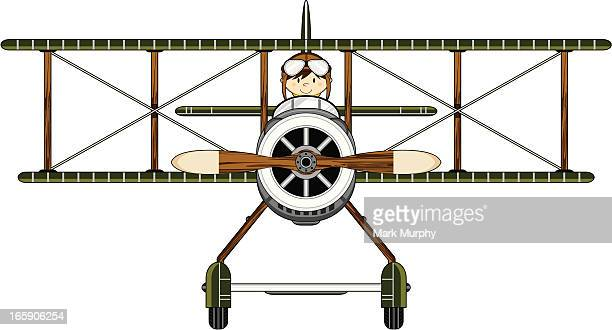ww1 style military biplane & pilot - helmet visor stock illustrations, clip art, cartoons, & icons
