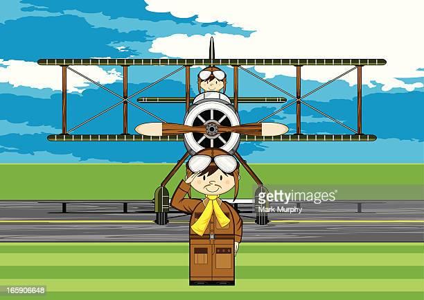 ww1 style military biplane & pilots scene - helmet visor stock illustrations, clip art, cartoons, & icons