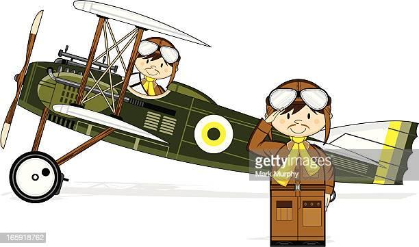 Première guerre mondiale Style militaire Biplan & pilotes