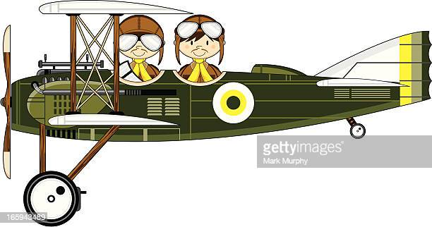 ww1 style military biplane & pilots - helmet visor stock illustrations, clip art, cartoons, & icons