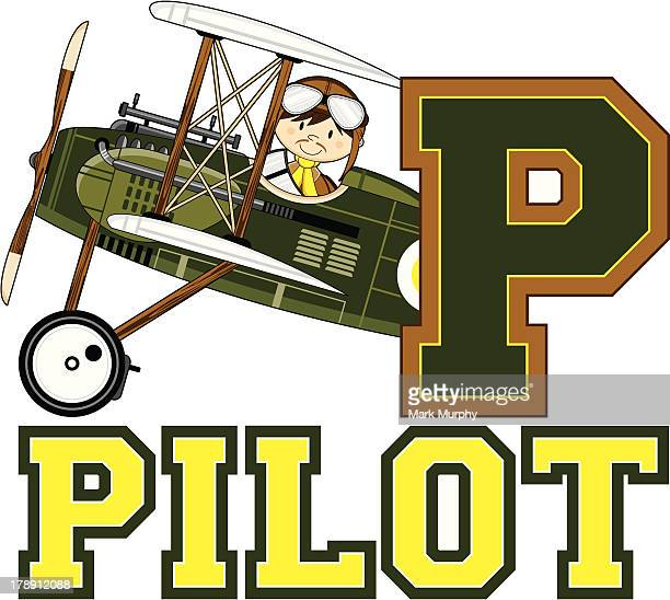 ww1 style pilots learning letter p - helmet visor stock illustrations, clip art, cartoons, & icons