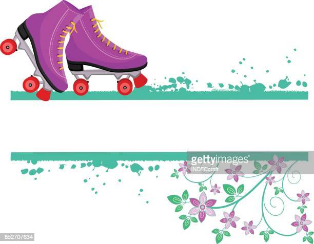80S Style Roller Skates With Grunge And Floral Design