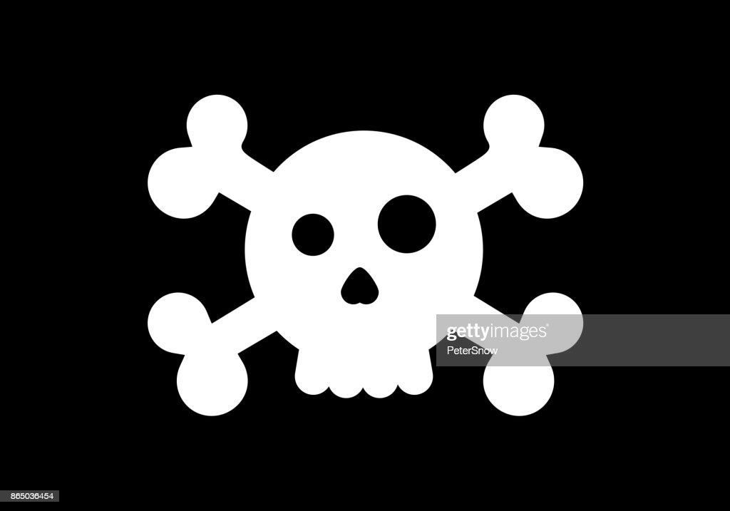 Styled skull in a pirate flag. Vector cartoon illustration