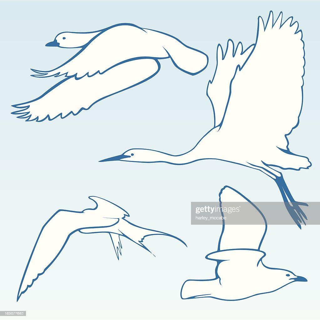 Stylised Birds In Flight