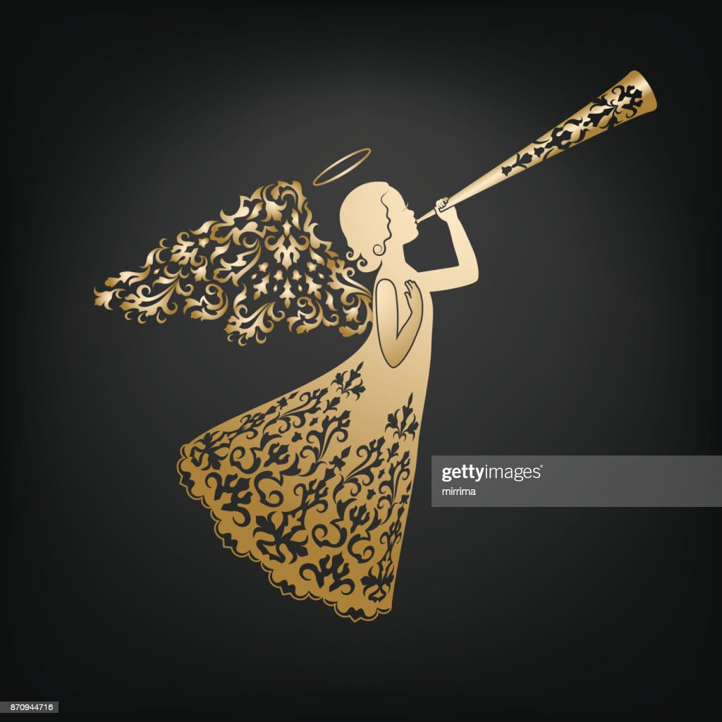 Stylish angel with floral wings and Nimbus