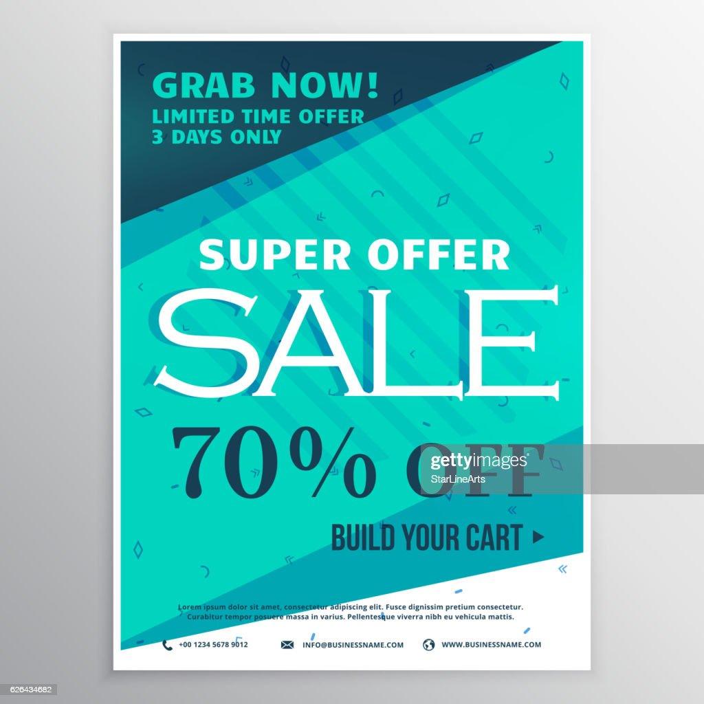stylish blue super sale banner brochure flyer template for marke