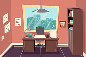 Stylish Business Working Office Room Background Desk City Window File