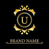 Stylish Capital letter U. Vintage Logo. Filigree Beautiful Monogram. Luxury Drawn Emblem. Graceful Style. Black and Gold. Graphic Ornament. Simple Design of Calligraphic Insignia. Vector Illustration