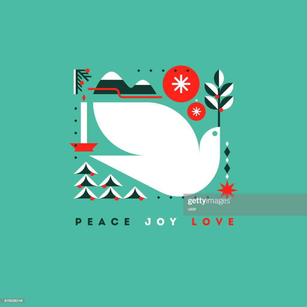 Stylish Card With Holiday Greetings And Symbols Of Christmas Vector