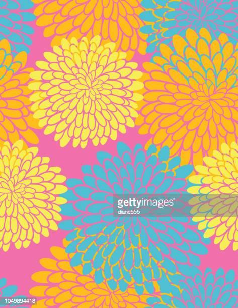 スタイリッシュな菊シームレス パターン - キク科点のイラスト素材/クリップアート素材/マンガ素材/アイコン素材