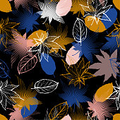 Stylish Colorful contrast Maple leaves mix with modern line in maple shape and autumn leaves element  seamless pattern vector layer for fashion,fabric,