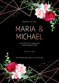 Stylish dark geometric wedding vector design frame with flowers.