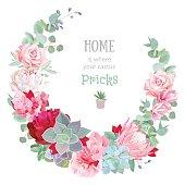 Stylish floral vector design round frame.