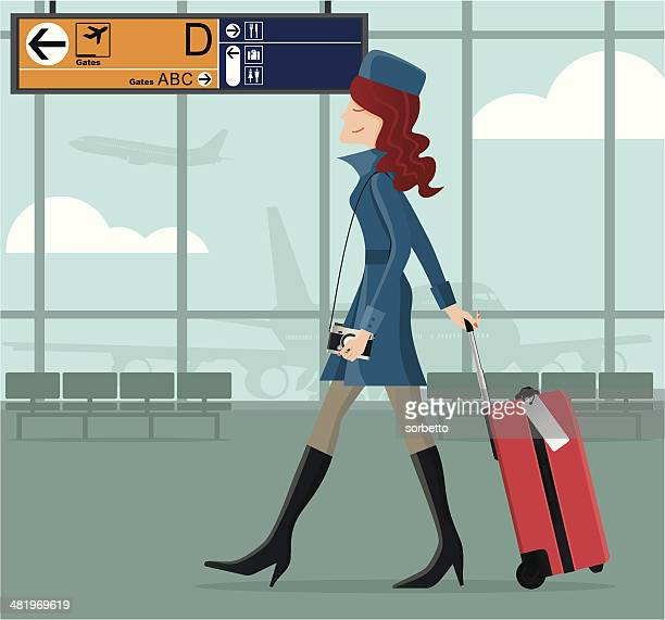 stylish girl at the airport - airport terminal stock illustrations, clip art, cartoons, & icons