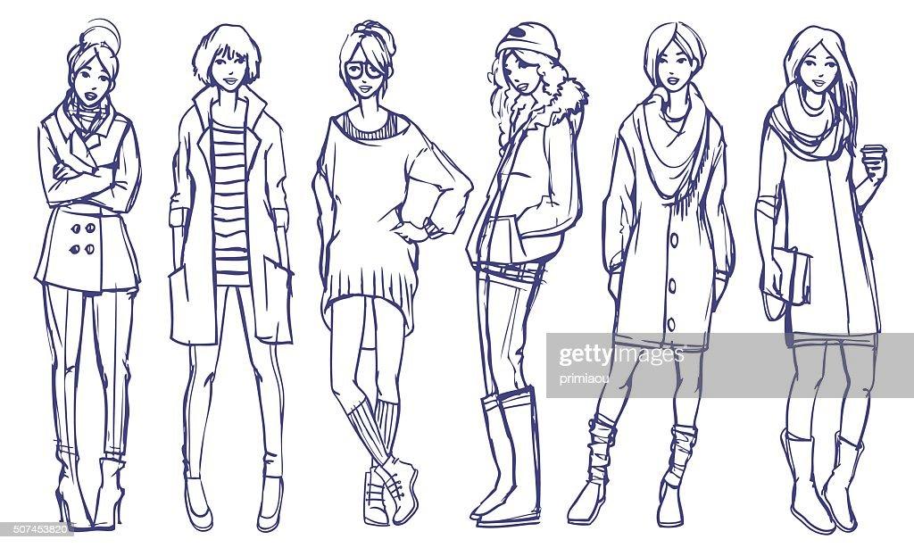 Stylish Girls Fashion Illustration