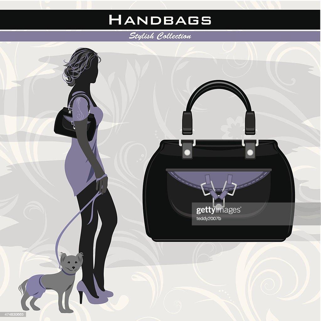 Stylish handbags. Silhouette of elegant woman with little dog