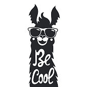 Stylish llama in sunglasses. Be cool - lettering quote.