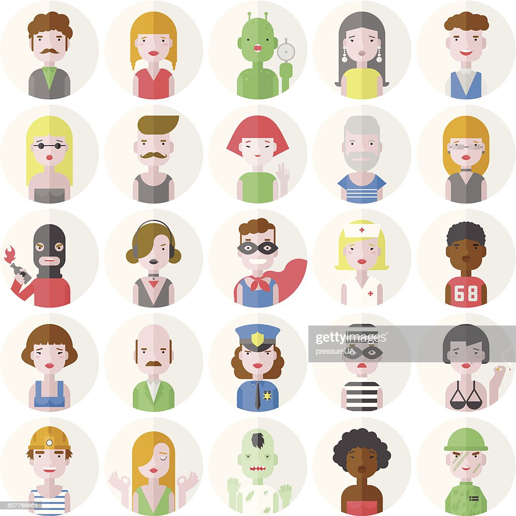 Stylish male and female flat characters set