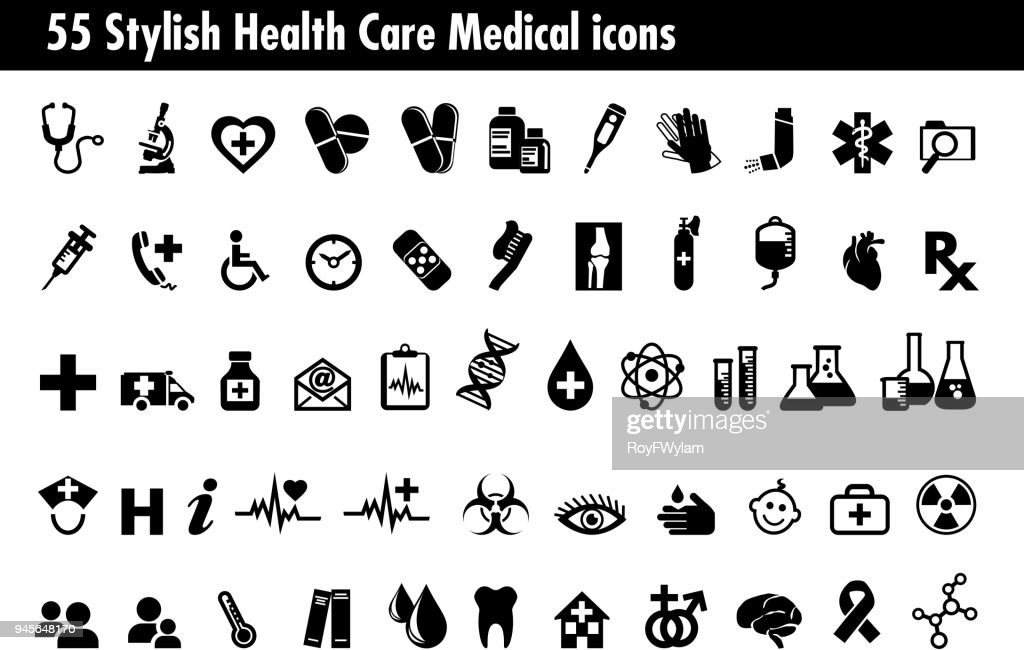 55 Stylish Medical Healthcare Icons Set, Symbols relating to pharmacy business, drugstore and science, for use in your products and presentations.