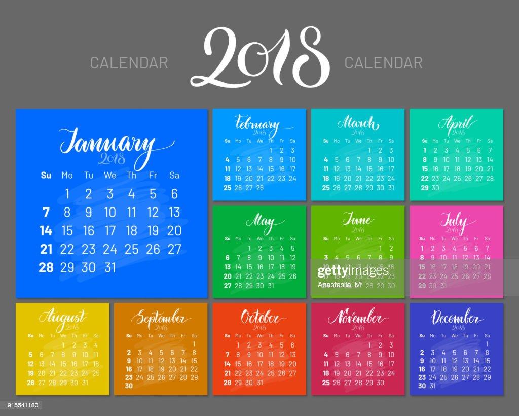 Stylish menology, 2018, January separately, dark background, multicolored, lettering