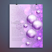 stylish merry christmas flyer design with hanging shiny christma