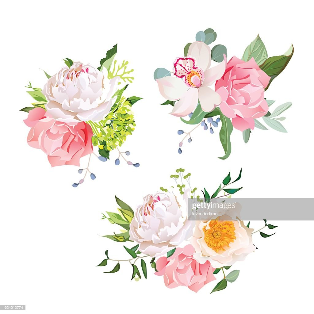 Stylish mix of flower bouquets vector design set