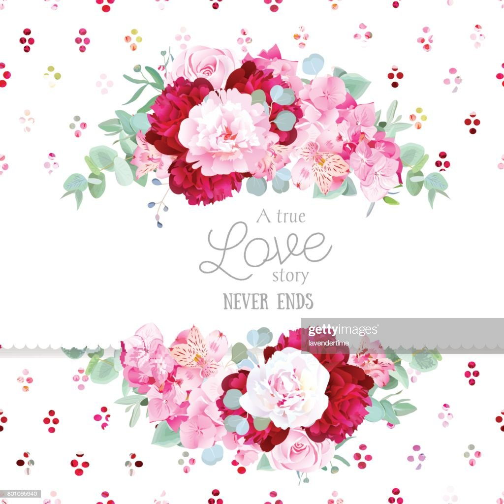 Stylish mix of flowers horizontal vector design frame