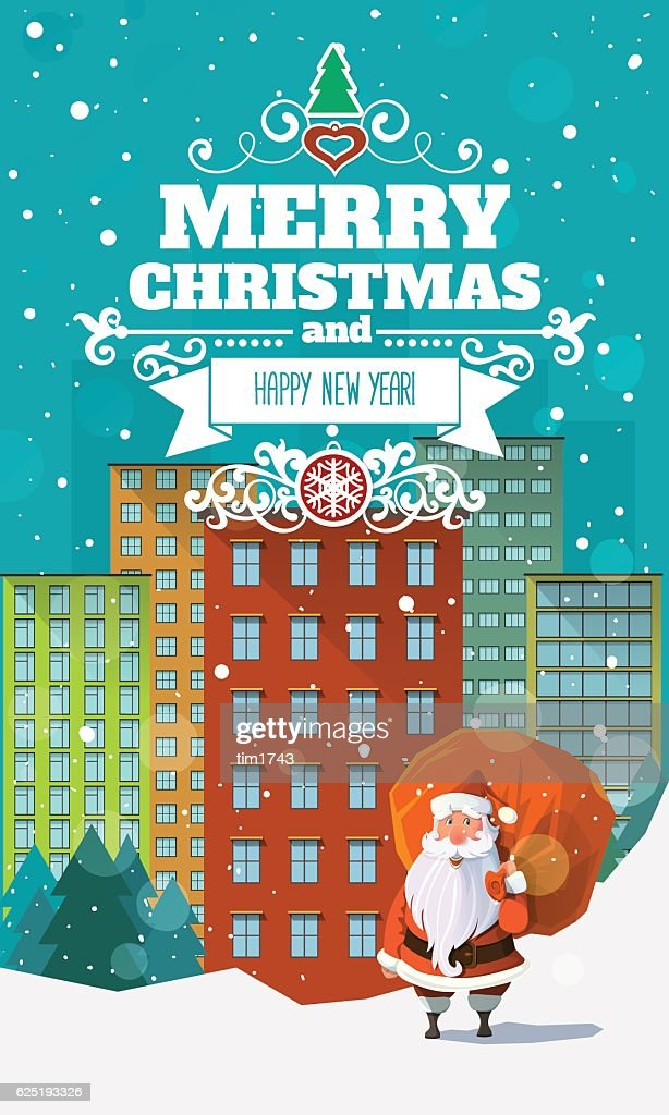 Stylish modern flat Christmas card with badge