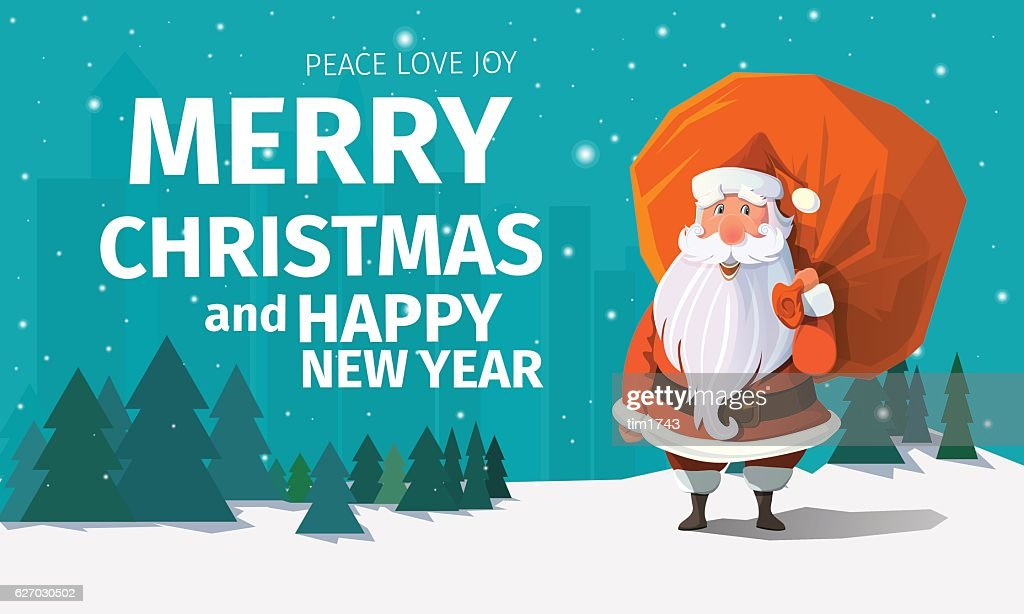 Stylish modern flat vector Merry Christmas card