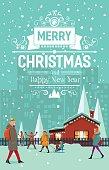 Stylish modern flat vintage Christmas card