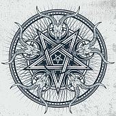 Stylish pentagram with goat skulls and star rays.