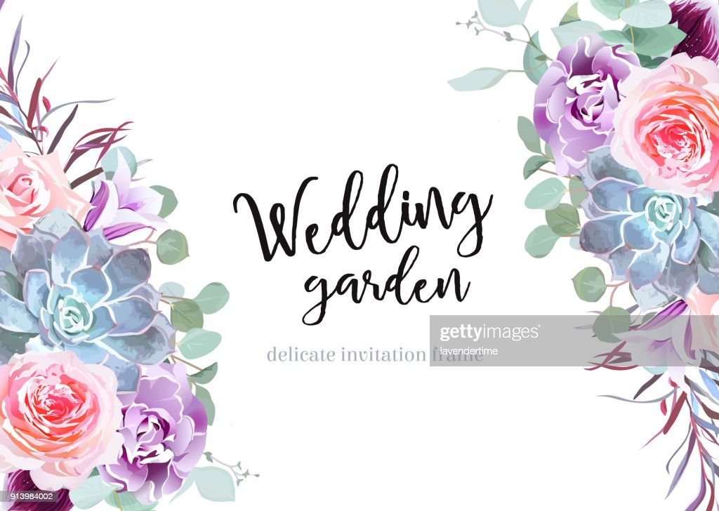 Stylish plum colored and pink flowers vector design banner card.