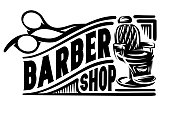 Stylish retro badge with scissors and armchair for barbershop.