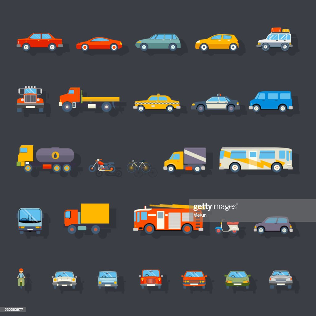 Stylish Retro Car Line Icons Set Isolated Transport Symbols Vector