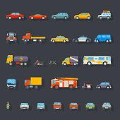 Stylish Retro Car Line Icons Set Isolated Transport Symbols Vector