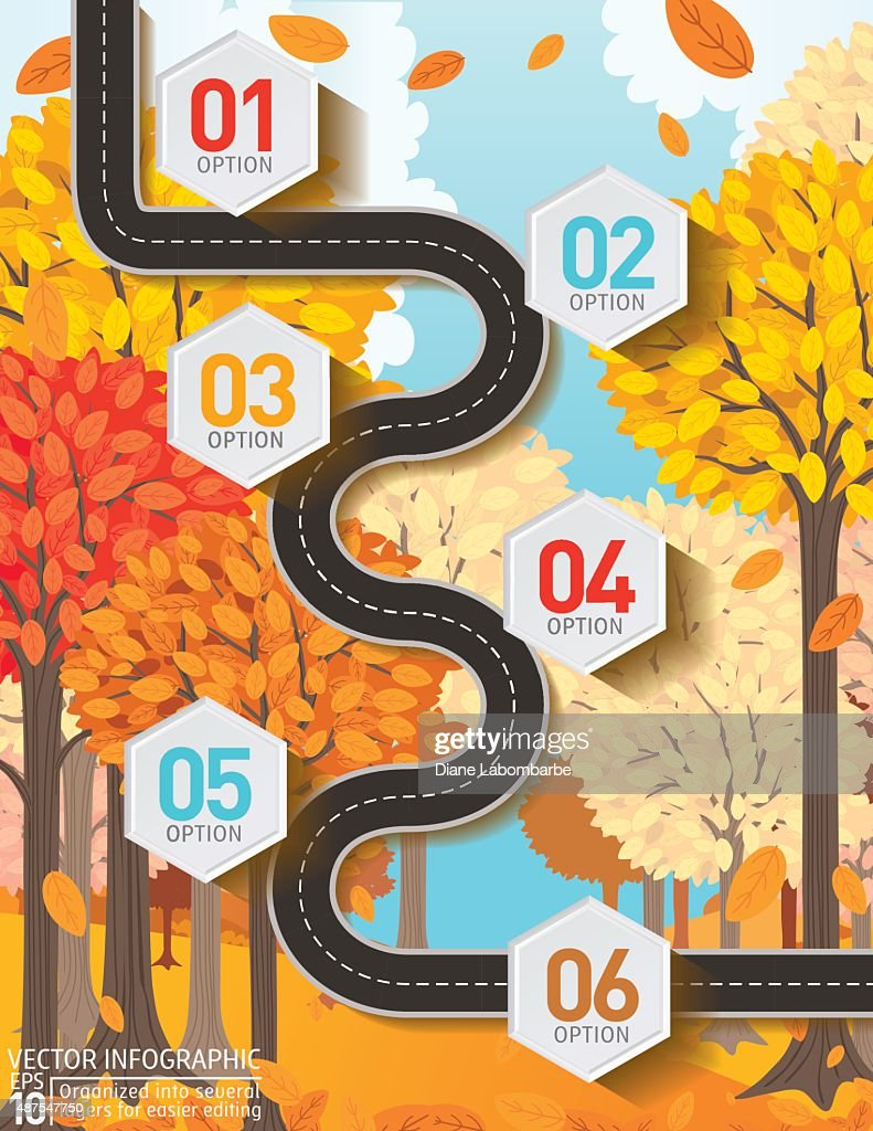 Stylish Roads Infographic On A Bright Yellow Background : Vector Art