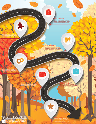 Stylish Roads Infographic On A Bright Yellow Background - gettyimageskorea