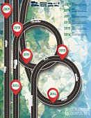 Stylish Roads Infographic On A Cement Texture Background