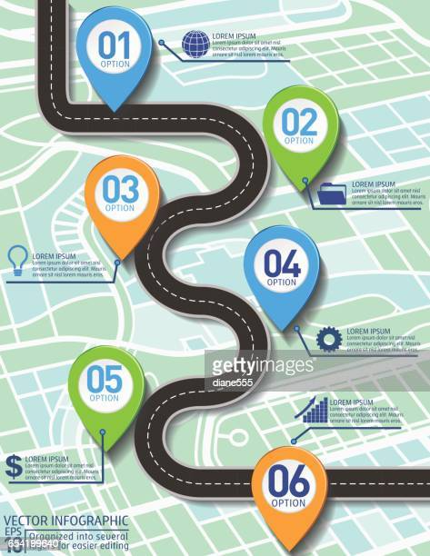stylish roads timeline infographic on a city map background - vertical stock illustrations