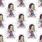 stylish rock girl seamless pattern.