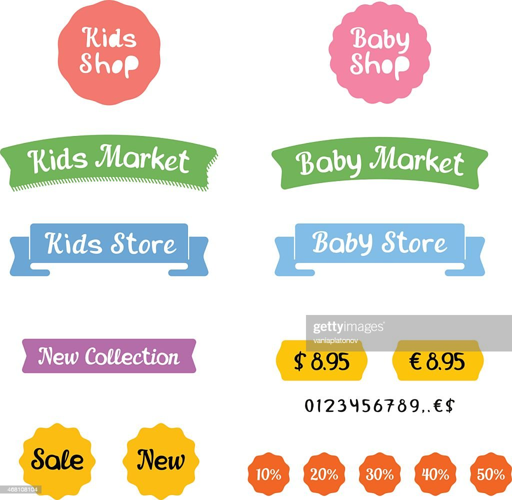 Stylish set of logos and icons for Kids Shop