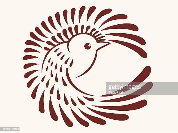 stylish sparrow - songbird stock illustrations