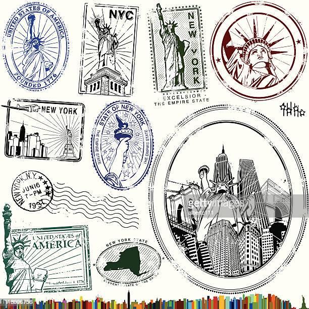 illustrazioni stock, clip art, cartoni animati e icone di tendenza di elegante statua della libertà francobolli - new york stato