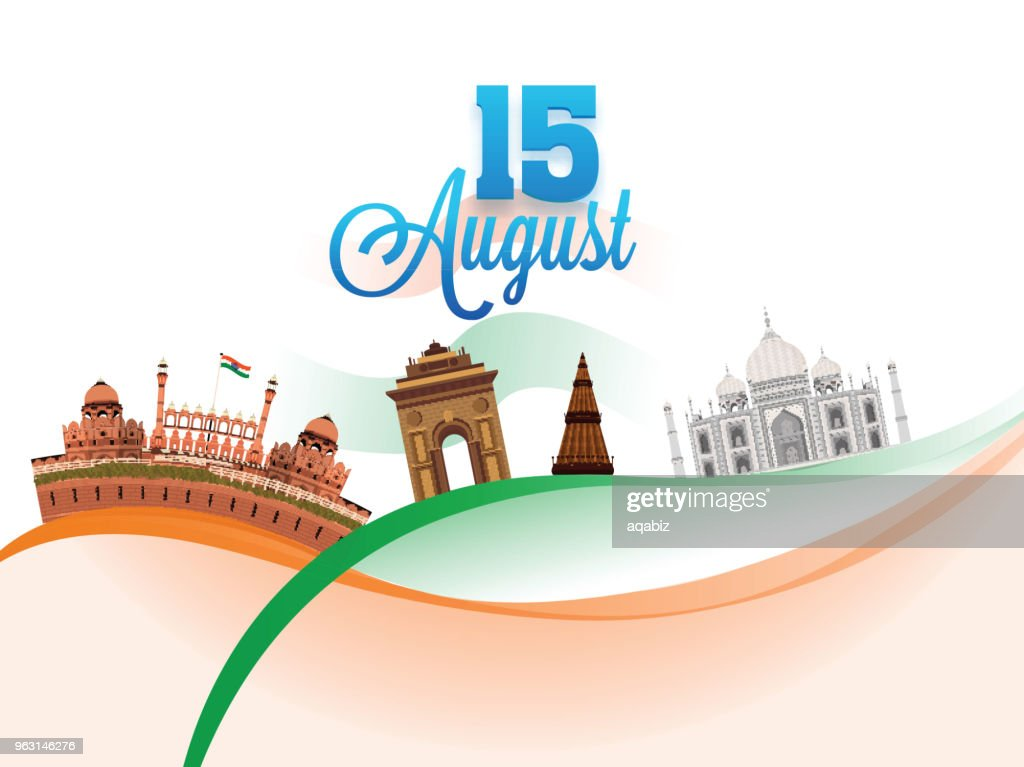Stylish text 15 August and Indian Famous Monuments on saffron and green waves background. Indian Independence Day celebration concept.