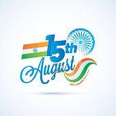 Stylish text 15th August, Ashoka Wheel and Indian Flag. Indian Independence Day celebration concept.