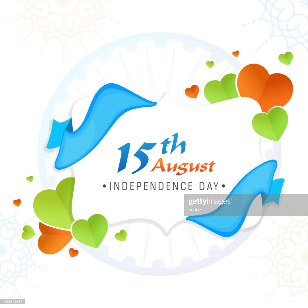 Stylish text 15th August, Indian Independence Day celebration concept with paper-hearts and blue ribbon.