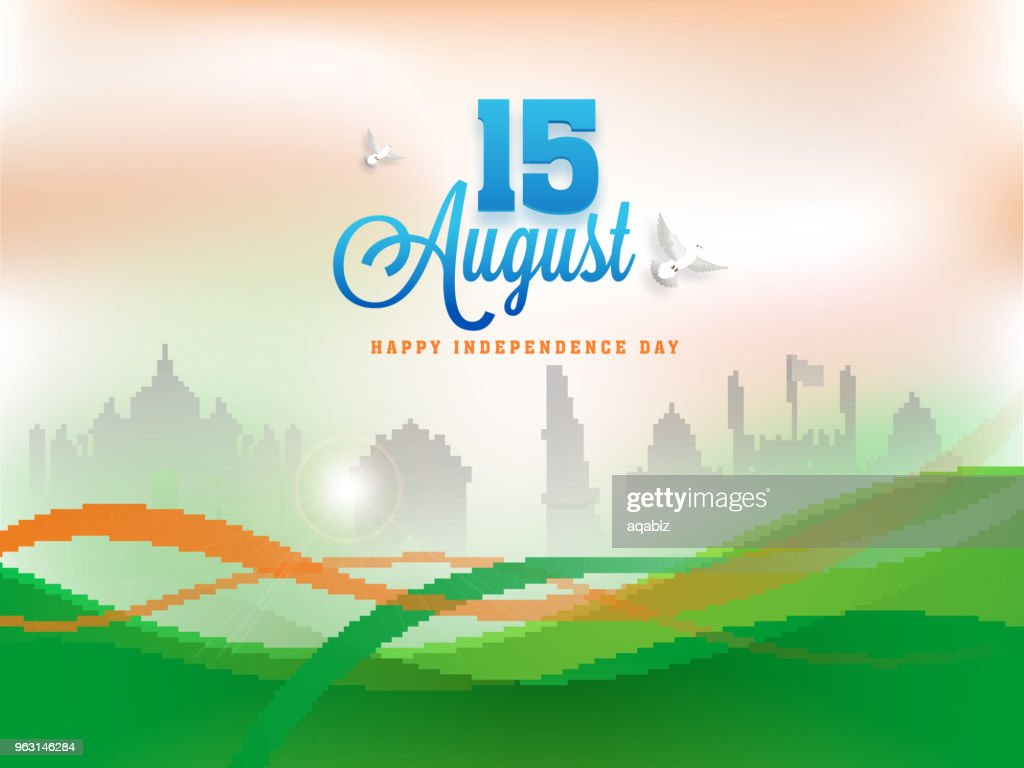 Stylish text 15th August on saffron and green waves background with monuments.