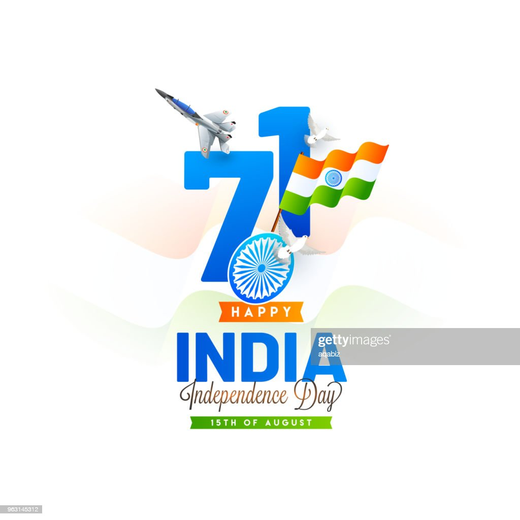 Stylish text 71 with waving flag, fighter air craft, flying doves and stylish text India Independence Day.