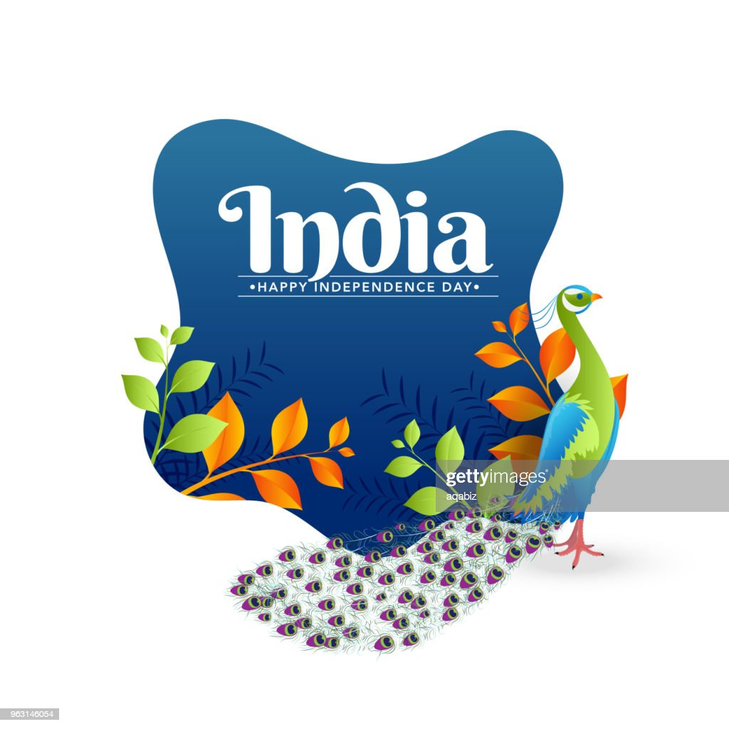 Stylish text India with peacock and saffron and green color leaves on blue background. Indian Independence Day celebration concept.