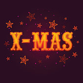 Stylish text Xmas for Merry Christmas celebration.